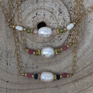 Gold Filled Pearl & Crystal Necklace